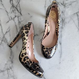 Vince Camuto Patent Leather Leopard Print Heels